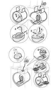 Zanussi ZWQ 35104 mosógép használati utasításban található szűrő tisztítás ábrázolása